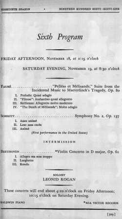 Boston Symphony program 1960 Schmitt Faure Beethoven Munch