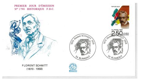 Florent Schmitt firt day cover and postage stamp.
