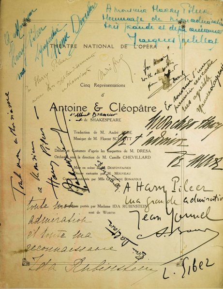 Schmitt Gide Rubinstein Antony & Cleopatra program 1920