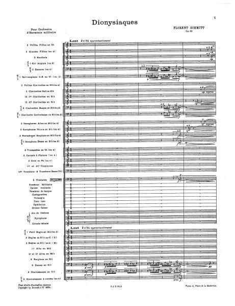 Florent Schmitt: Dionysiaques, firts page of score