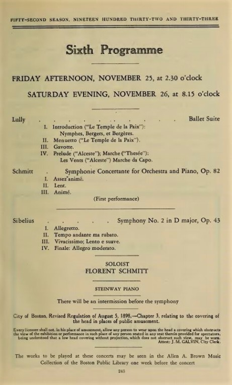 Florent Schmitt Symphonie Concertante Boston Symphony 1932 program