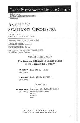 American Symphony Orchestra concert program