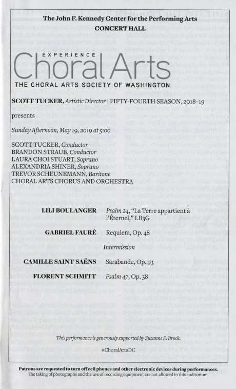 Choral Arts Society of Washington May 2019 concert program Florent Schmitt Psaume XLVII Boulanger Faure