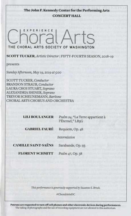 Choral Arts Society of Washington May 2019 concert program Florent Schmitt Psaume XLVII Boulanger Faure
