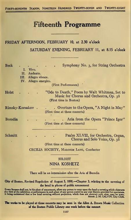 Florent Schmitt Psalm 47 Boston Symphony Orchestra 1928