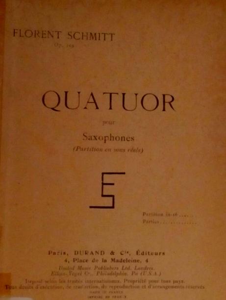 Florent Schmitt Quartet for Saxophones score