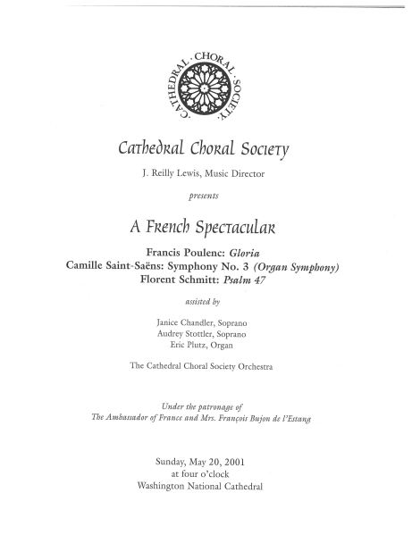Cathedral Choral Society concert program (Poulenc, Saint-Saens, Schmitt)