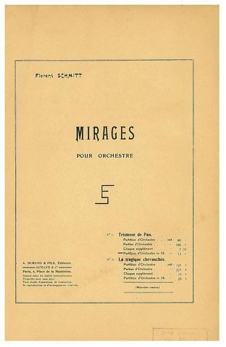Florent Schmitt, Mirages score