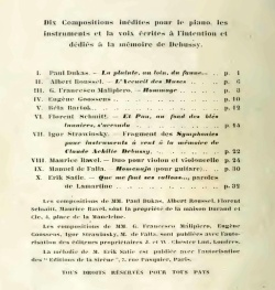 Claude Debussy Memorial 1920