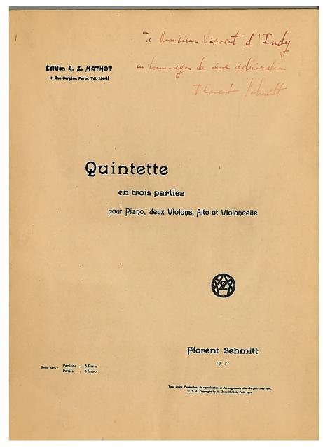Florent Schmitt Piano Quintet Score