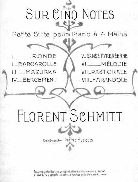 Florent Schmitt Sur cinq notes score