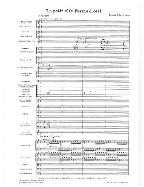 Schmitt Le petit elfe Ferme-l'oeil full-score instrumentation