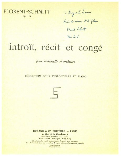 Florent Schmitt Introit recit & conge, music score