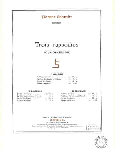 Florent Schmitt Trois rapsodies orchestral score
