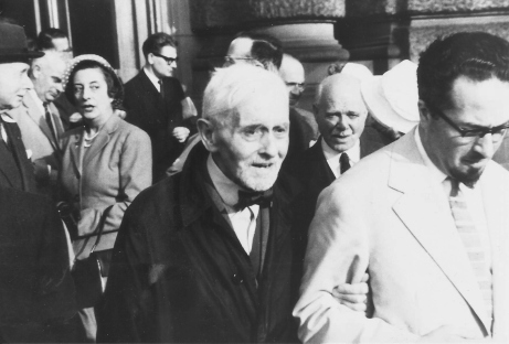 Florent Schmitt and Felix Aprahamian at the world premiere performance of Schmitt's Symphony No. 2 in Strasbourg, France in June 1958.  Also pictured are composer-critic Gustave Samazeuilh, pianist Frank Mannheimer and musicologist Marc Pincherle.