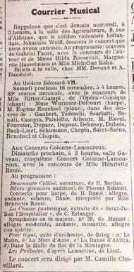 La Figaro Nov. 12 1918 Florent Schmitt Reves premiere