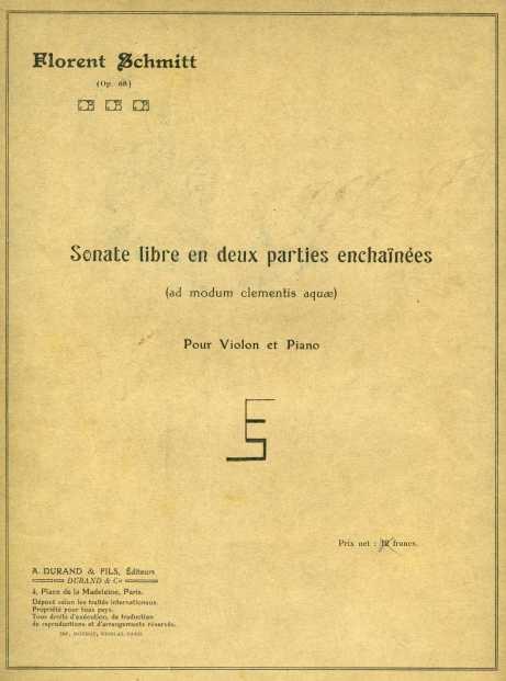 Schmitt Sonate libre score 1919