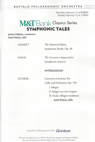 BPO concert Program Schmitt Dukas Dvorak