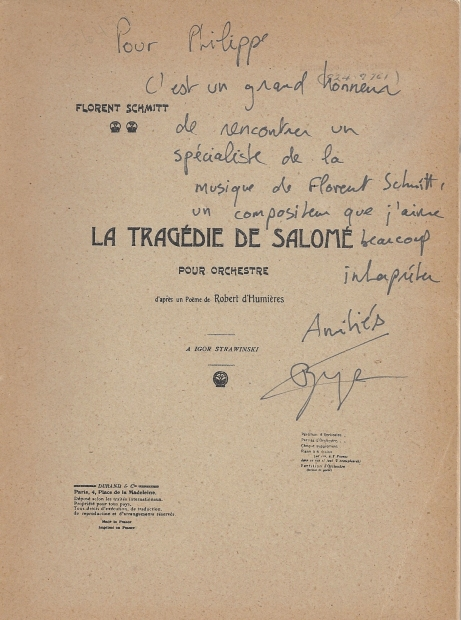Florent Schmitt Tragedy of Salome conductor score