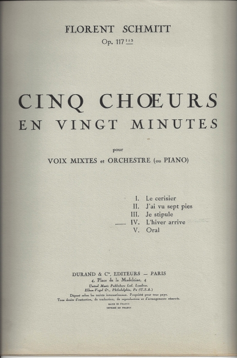 Late-career luxuriance: Florent Schmitt's score to Cinq chorales en vingt minutes (1951).