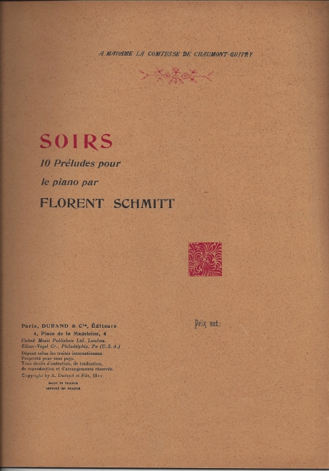 Florent Schmitt Soirs score Durand