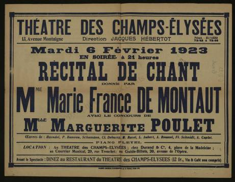 Montaut song recital 1923
