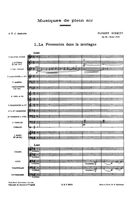 Florent Schmitt Musiques de plein air orchestral score