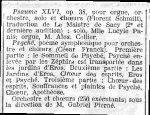 Florent Schmitt Psaume Cesar Franck Psyche Pierne 1912
