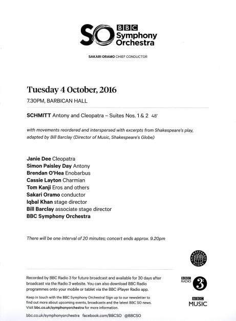 BBC Symphony Orchestra Florent Schmitt Antony & Cleopatra program