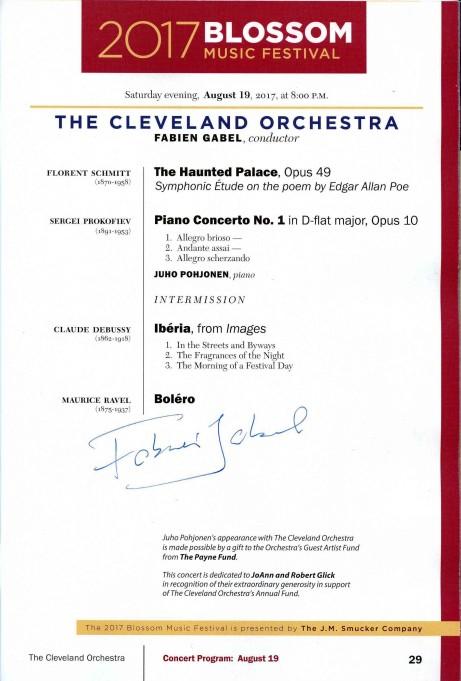 The Cleveland Orchestra concert program August 19 2017 Fabien Gabel