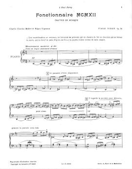 Florent Schmitt Fonctionnaire MCMXII piano score