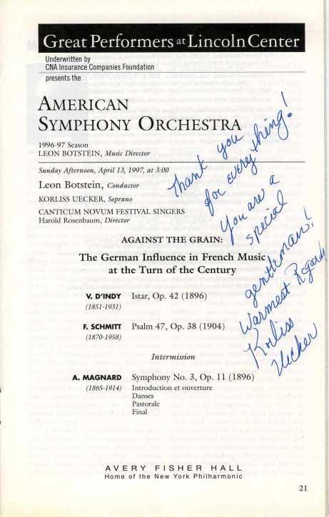 ASO concert program 1997 Magnard d'Indy Schmitt