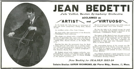 Jean Bedetti promotional notice 1923