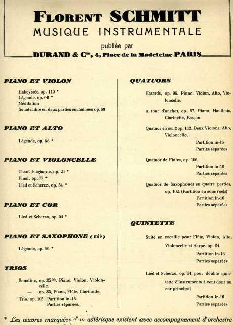 Florent Schmitt instrumental scores Durand 1956