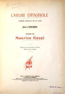 Ravel L'Heure espagnole score