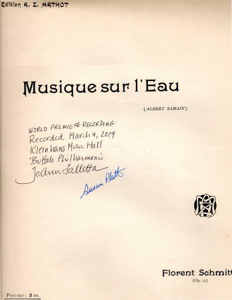 Florent Schmitt Musique sur l'eau score signed Falletta Platts