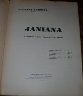 Florent Schmitt Janiana String Symphony score