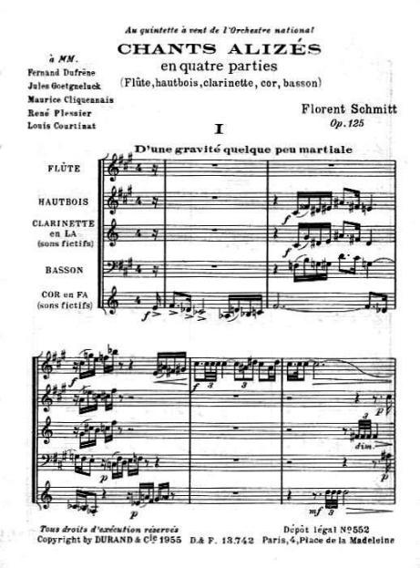 Florent Schmitt Chants alizes score first page