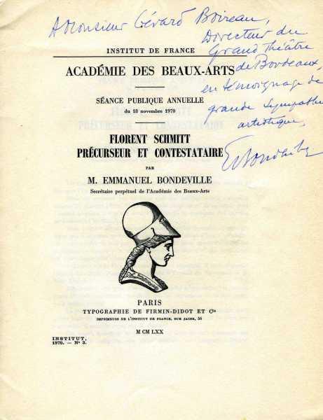 Florent Schmitt Precurseur et contestataire Emmanuel Bondeville 1970