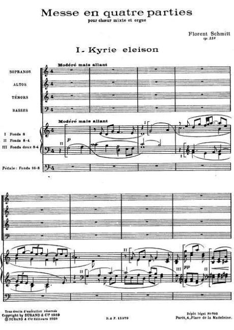 Florent Schmitt Messe en quatre parties score first page