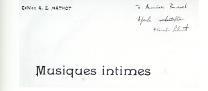 Florent Schmitt Musiques intimes score inscribed to Maurice Ravel