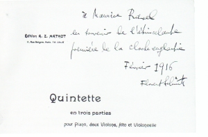 Florent Schmitt Piano Quintet score inscribed to Maurice ravel