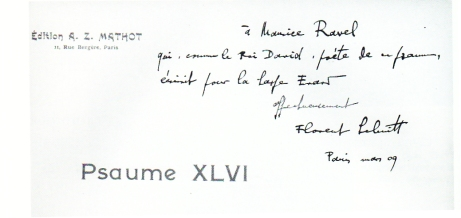 Florent Schmitt Psaume XLVII score inscribed to Maurice Ravel