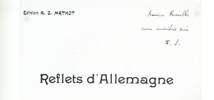 Florent Schmitt Reflets d'Allemagne score inscribed to Maurice Ravel