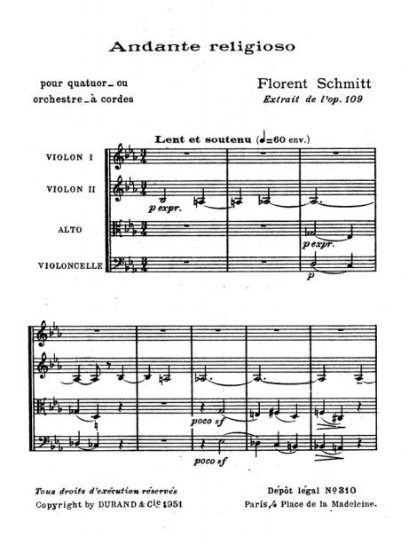 Florent Schmitt Andante Religioso score