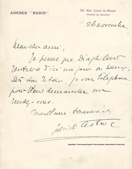 Gabriel Astruc signed letter