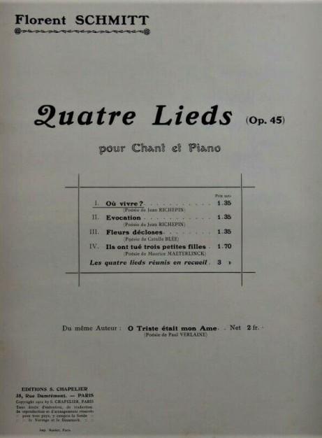 Florent Schmitt Quatre lieds score