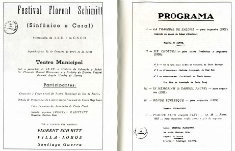 Festival Florent Schmitt Program Brazil 1949