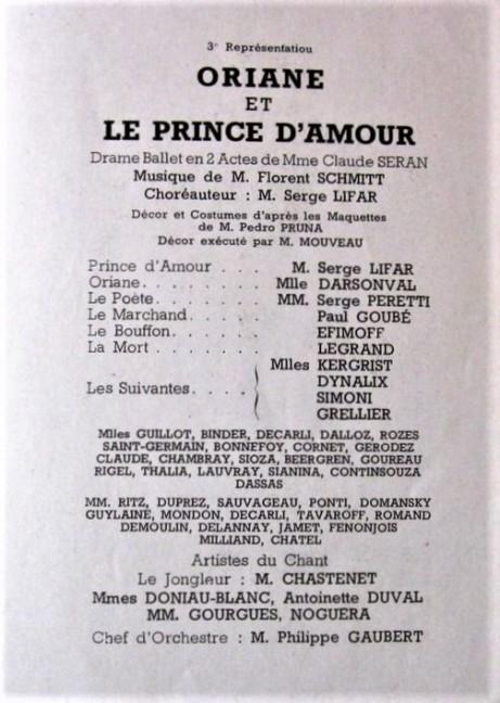Florent Schmitt Oriane et le Prince d'Amour playbill 1938