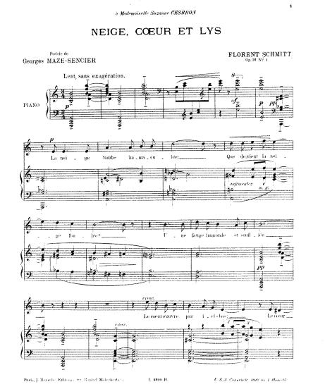 Florent Schmitt Deux chansons Neige coeur et lys score